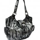 Metallic Zebra with Side Pockets Handbag (Black)