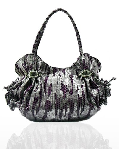 Metallic Zebra Look with Ruffles Handbag (Purple)