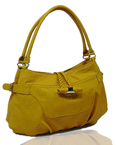 Washed Ostrich Leather with Belted Gussets Buckles (Mustard)