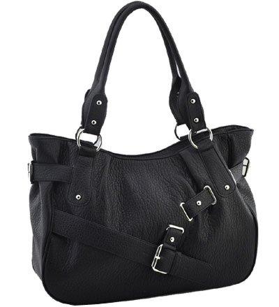 Washed Ostrich Belting Accent In Front Handbag (Black)