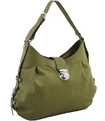 Washed Ostrich Leather Look Handbag (Olive)