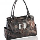 High Quality Synthetic Python Leather Look Handbag (Brown)