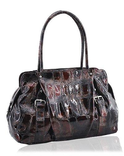 Synthetic Python Leather Look Handbag (Brown)