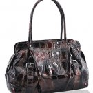Synthetic Python Leather Look Handbag (Brown)