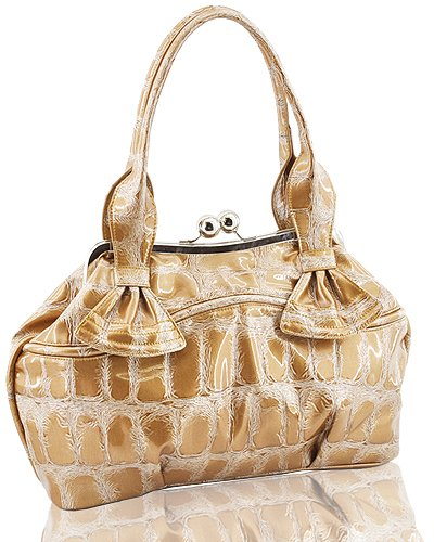 Synthetic Python Leather Look Purse (Tan)