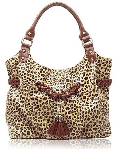 Leopard-print Crackled Leather Look Handbag (Brown)