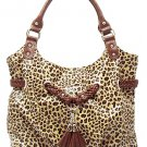 Leopard-print Crackled Leather Look Handbag (Brown)