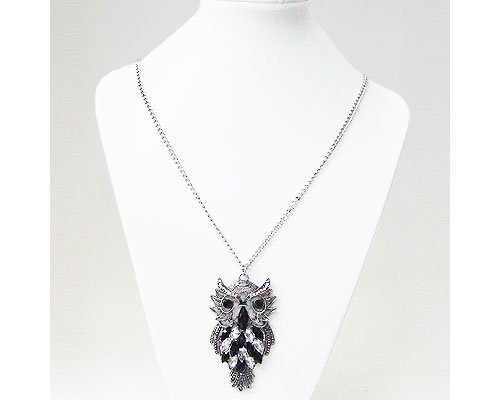 Owl Shape, Stone and Crystal Necklace