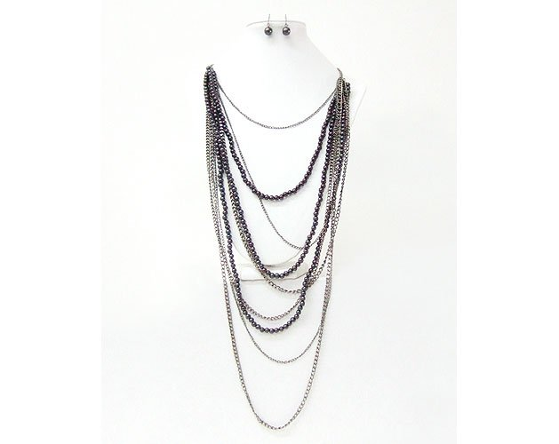 Multi Chain and Pearl Combine Necklace