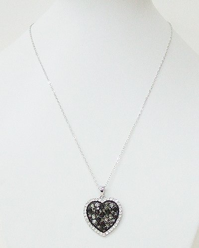 Crystal with Heart Pendant Necklace (Black)