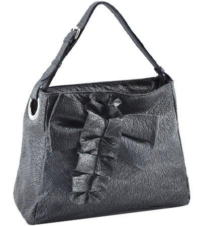 Washed Adjustable Shoulder Strap Ostrich Handbag (Pewter)