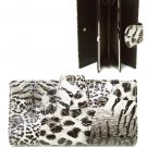 Faux Animal Print Leather Wallet with Flap Closure (Gray)