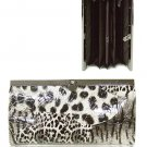 Faux Animal Print Leather Wallet with Clip Lock Closure (Gray)