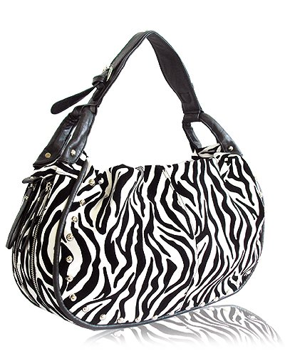 Decorative Zebra Print with Studs Details Handbag (White)