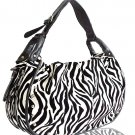 Decorative Zebra Print with Studs Details Handbag (White)