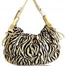 Decorative Zebra Print with Studs Details Handbag (Gold)