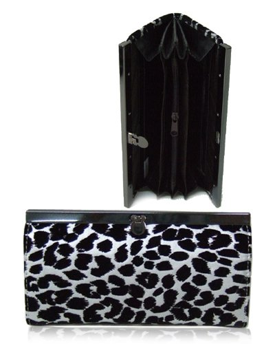 Leopard Textured Material Wallet with Clip Lock Closure (Silver)