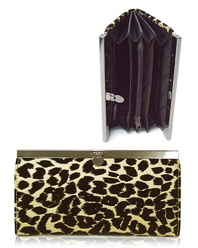 Leopard Textured Material Wallet with Clip Lock Closure (Gold)