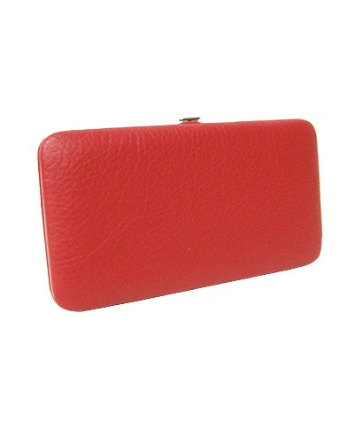 Colorful Synthetic Croc-Embossed Flat Wallet (Red)