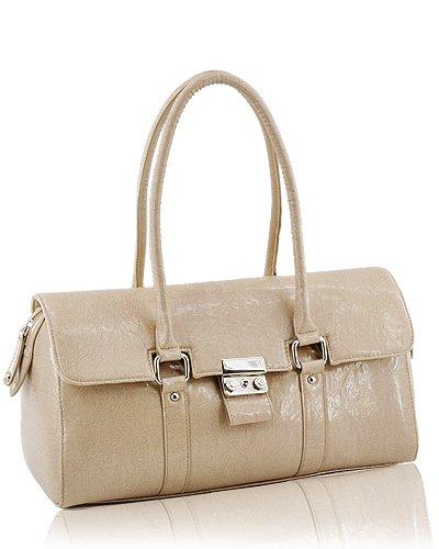 Glazed Leather Look Handbag (Coffee)