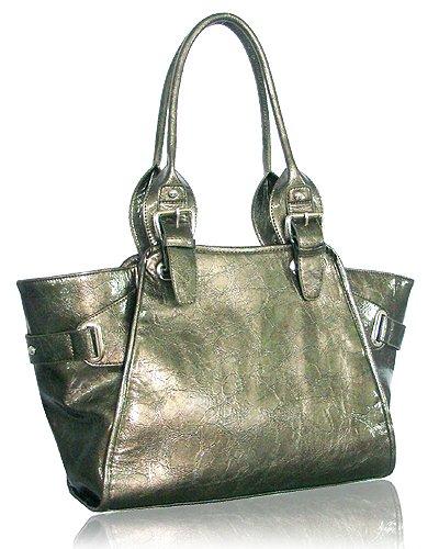 Glazed Leather Look Handbag (Pewter)