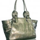 Glazed Leather Look Handbag (Pewter)