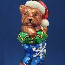 YORKIE YORKSHIRE TERRIER DOG STOCKING GLASS ORNAMENT