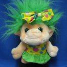 Trolio Troll Lucky Green Hair Eyes Plush Stuffed Doll