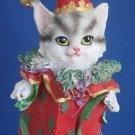 Gray Tabby Kitty Cat Christmas Jester Ornament New Cute
