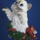 White Kitten Cat Holiday Wreath Christmas Ornament New