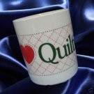 I LOVE QUILTING QUILTERS SEWING MUG CUP CUTE CERAMIC