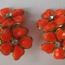 Vintage Orange Flowers Rhinestone Glitz Clip Earrings
