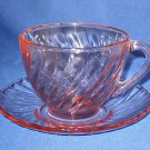 ARCOROC FRANCE PINK SWIRL GLASS 1 CUP SAUCER VINTAGE