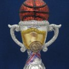 BASKETBALL SPORTS TROPHY GLASS CHRISTMAS ORNAMENT NEW