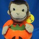 Curious George Pumpkin Halloween Plush Monkey NWT Cute