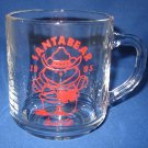 MARSHALL FIELDS SANTABEAR 1995 GLASS MUG DAYTON HUDSON