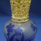 Cobalt Blue Flower Perfume Bottle Gold Crown Frosted