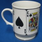 Poker Cards Spades Royal Flush Pedestal Mug Cup Winner