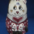 HAND PAINTED KITTY CAT FIGURAL BANK VINTAGE ENESCO 1980