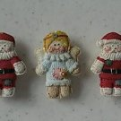 CHRISTMAS SANTAS ANGELS BUTTON COVERS SET 5 HOLIDAY