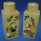 VINTAGE HAND PAINTED WOOD SALT PEPPER SHAKERS SET JAPAN
