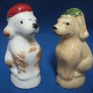 VINTAGE PUPPY DOGS W HATS SALT PEPPER SHAKERS JAPAN WOW
