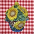 SUNFLOWER BASKET BOUQUET CERAMIC COOKIE JAR FLOWERS