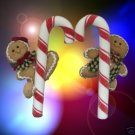 GINGERBREAD BOY GIRL CANDY CANE CHRISTMAS ORNAMENTS 2 A