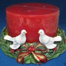 CHRISTMAS 2 DOVES MULTI WICK CANDLE + HOLDER NEW PRETTY