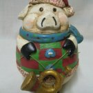 FESTIVE PIG W FRENCH HORN CHRISTMAS ROLY POLY FIGURE