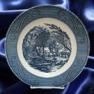 CURRIER IVES BLUE  DINNER PLATE ROYAL USA MID CENTURY