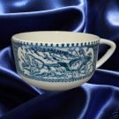 CURRIER IVES BLUE 4 CUPS ROYAL CHINA USA MID CENTURY
