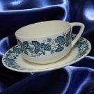 ROYAL CHINA OLD ENGLISH BLUE DINNERWARE 2 CUPS SAUCERS