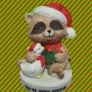 FESTIVE RACCOON SANTA DUCK ELF CHRISTMAS FIGURINE CUTE
